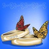 Hochzeitshintergrund mit Ringen Lizenzfreies Stockbild