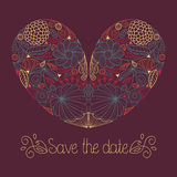 Hochzeitskarte im Vektor mit Blumenherzen und Text sparen das Datum Stockfotos