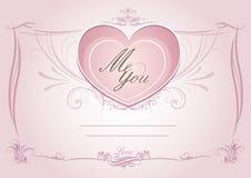 Hochzeitskarte invatation Kartenschablone mit rosa Blumen Stockbild