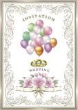 Hochzeitskarte mit Blumen und Ballone Lizenzfreies Stockbild