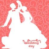 Hochzeitskarte mit der Braut und dem Bräutigam Lizenzfreie Stockfotos