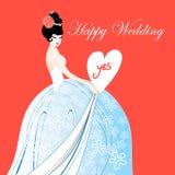Hochzeitskarte mit einer reizenden Braut Lizenzfreie Stockbilder