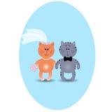 Hochzeitskarte mit netten Kätzchen in der Liebe. Vektorabbildung. Gre Vektor Abbildung