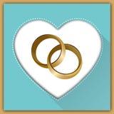Hochzeitskarte mit zwei Ringen Lizenzfreie Stockfotos