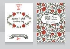 Hochzeitskarten mit folklorischen Blumen lizenzfreie abbildung