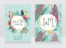 Hochzeitskarten mit tropischen Vögeln und Blumen stock abbildung