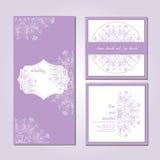 Hochzeitskartensammlung, kopiertes zentangle Lizenzfreie Stockbilder