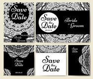 Hochzeitskartensammlung mit Mandala Schablone der Einladungskarte Dekoratives Gruß invitaion Design mit Weinlese Islam, arabisch lizenzfreie abbildung