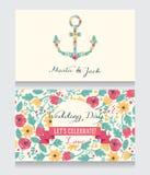 Hochzeitskartenschablone mit Blumen gebildetem Anker Stockfotografie