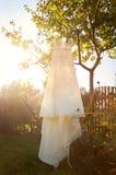 Hochzeitskleid, das von einem Baum hängt Lizenzfreie Stockbilder