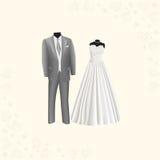 Hochzeitskleid und der Anzug der grauen Männer Stockbild