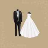 Hochzeitskleid und der Anzug der schwarzen Männer Stockbild