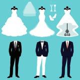 Hochzeitskleid und -Smoking Lizenzfreies Stockfoto