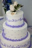 Hochzeitskuchen und -deckel mit Hochzeitsringen stockbild