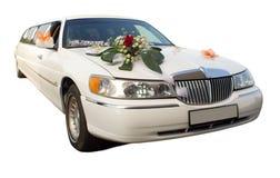 Hochzeitslimousine mit Blumen Stockbilder