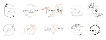 Hochzeitsmonogrammsammlung, modernes Minimalistic und Blumenschablonen für Einladungskarten, sparen das Datum, Logoidentität stock abbildung