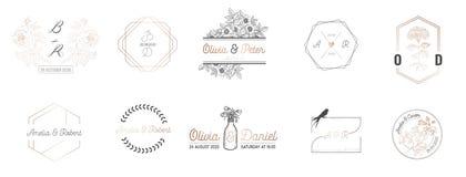 Hochzeitsmonogrammsammlung, modernes Minimalistic und Blumenschablonen für Einladungskarten, sparen das Datum, Logoidentität vektor abbildung