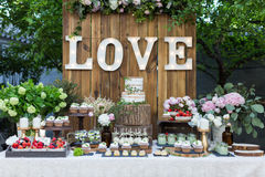 Hochzeitsnachtischbereich Lizenzfreies Stockfoto
