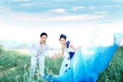 Hochzeitspaar-Holdinghände Stockfotos