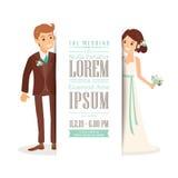 Hochzeitspaarbräutigam und -braut auf weißem Hintergrund, Hochzeitseinladungs-Kartenschablone Lizenzfreies Stockfoto