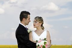 Hochzeitspaare auf dem Feld lizenzfreie stockfotografie