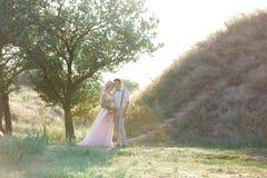 Hochzeitspaare auf der Natur am Sommertag lizenzfreies stockfoto