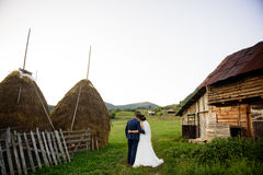 Hochzeitspaare auf einem grünen Feld lizenzfreie stockfotografie