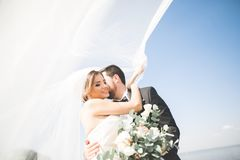 Hochzeitspaare, Bräutigam, Braut mit dem Blumenstrauß, der nahe Meer aufwirft und blauer Himmel lizenzfreie stockfotografie