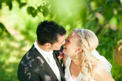 Hochzeitspaare in der romantischen Einstellung lizenzfreie stockfotografie