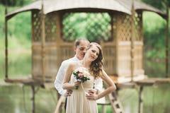 Hochzeitspaare, die an der Brücke umarmen und küssen lizenzfreie stockfotos