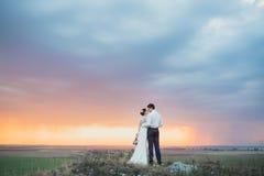 Hochzeitspaare, die im Gebirgshügel auf Sonnenuntergang schauen Stockbilder