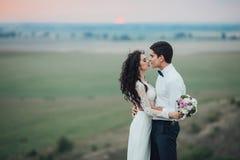 Hochzeitspaare, die im Gebirgshügel auf Sonnenuntergang schauen Stockfotos