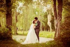 Hochzeitspaare im Freien Stockfotos