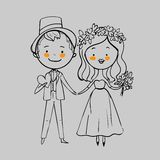 Hochzeitspaare mit Blumen Stockbilder