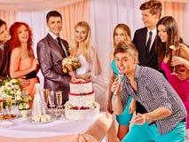 Hochzeitspaare und -gäste singen Lied Lizenzfreie Stockbilder