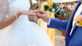Hochzeitspaare, welche die Ringe austauschen stock video