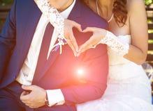 Hochzeitspaarhändchenhalten mag ein Herz in sonnigem Lizenzfreie Stockfotografie