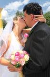Hochzeitspaarküssen Stockbild