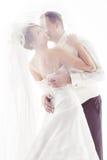 Hochzeitspaarküssen Lizenzfreie Stockbilder
