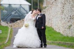 Hochzeitspaarküssen Stockbilder