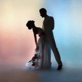 Hochzeitspaarschattenbildbräutigam und -braut auf Farbhintergrund Stockfotos