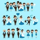 Hochzeitspanels mit Braut, Bräutigam und Hochzeitsringen, die für Einladungen oder Grußkarten benutzt werden können Stockbild