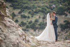 Hochzeitsphotographie eines jungen Paares, der Braut und des Bräutigams in einem Berggebiet im Sommer Stockbild