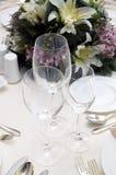 Hochzeitsrestauranttabelle Lizenzfreie Stockfotografie