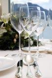 Hochzeitsrestauranttabelle Lizenzfreie Stockbilder