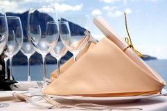 Hochzeitsrestauranttabelle Stockfoto