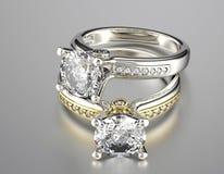 Hochzeitsring mit Diamanten Gold-und Silber-schwarzer Gewebe-Schmucksache-Hintergrund Lizenzfreies Stockbild