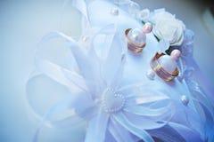 Hochzeitsringe auf einem Kissen Lizenzfreies Stockfoto