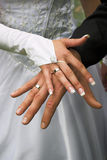 Hochzeitsringe auf Fingern stockbild