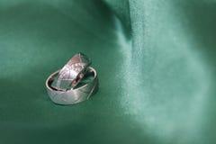 Hochzeitsringe auf Grün lizenzfreie stockfotografie